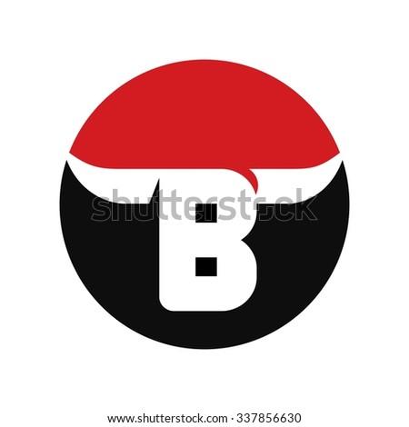 bull logo vector. letter B logo. - stock vector