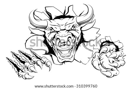 Bull mascot breakthrough concept of a bull sports mascot or animal character ripping through a wall