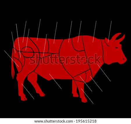 bull meat butchery - stock vector