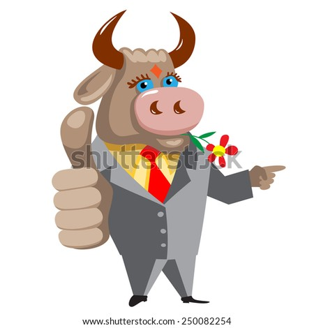 Bull pointing to where the better. - stock vector