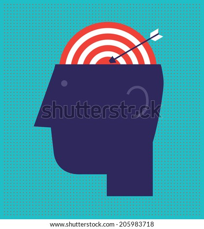 Bull's Eye Brain - stock vector