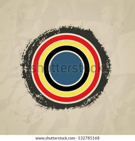 Bull's-eye on brushwork paper background, mondrian style. eps10. - stock vector