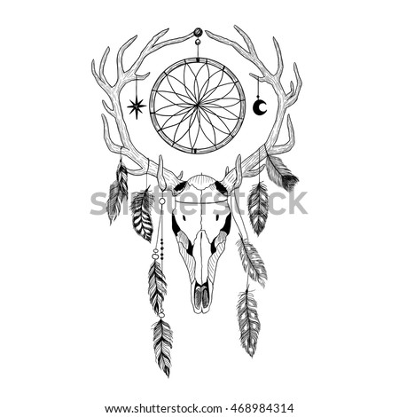 Bull's skull with deer antlers, feathers and dreamcatcher.