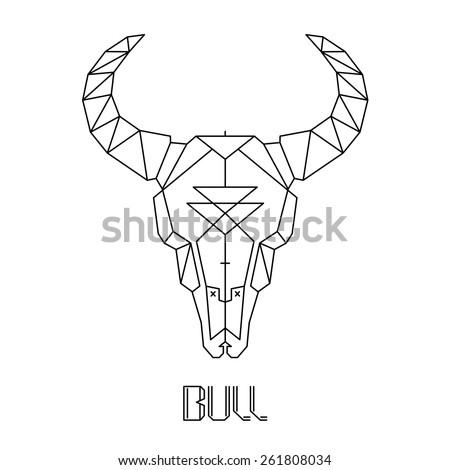 bull skull, cow skull vector - stock vector