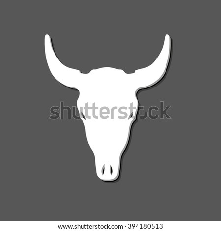 Bull skull - white vector icon  with shadow