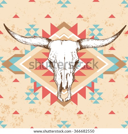 Bull skull with horns on native american or mexican background with traditional ornament in red, turquoise and beige color; bohemian style vector illustration - stock vector