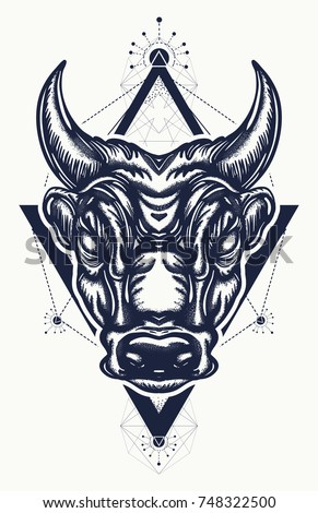 bull tattoo and t shirt design ancient rome and ancient greece concept war t