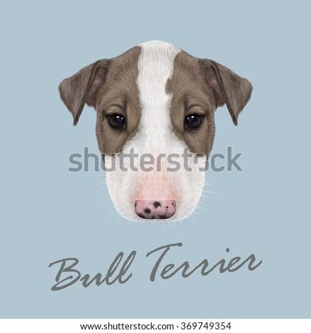 Bull Terrier Dog Portrait. Vector illustrated Portrait of  Bull Terrier Puppy on blue background. - stock vector
