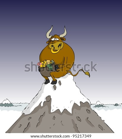 Bull with a pot of money sitting in the hill - stock vector