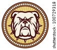 Bulldog head (angry bulldog, bulldog vector illustration, bulldog badge, bulldog symbol) - stock photo