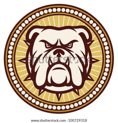 Bulldog head (angry bulldog, bulldog vector illustration, bulldog badge, bulldog symbol) - stock vector
