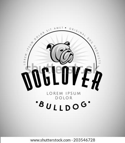 Bulldog Head Vintage Emblem. Dog Logo. Vector Illustration. - stock vector