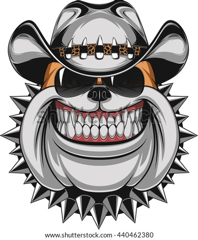 vector illustration fierce bulldog wearing cap stock