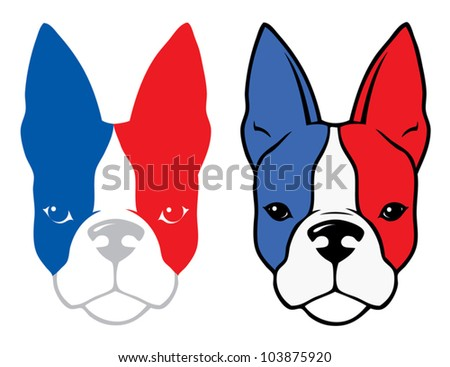 Bulldog with french flag colors - vector illustration - stock vector