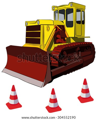 Bulldozer and road cones, vector illustration, isolated on white - stock vector