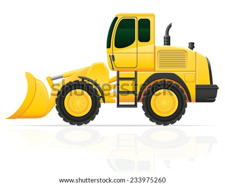 bulldozer for road works vector illustration isolated on white background