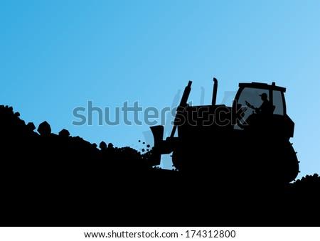 Bulldozer loader tractor at industrial construction digging site landscape vector background illustration - stock vector