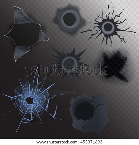 bullet hole in glass and metal set on alpha transperant background. Realistic gunshot