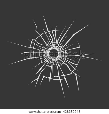 Bullet Hole in Glass. Dark Background. Vector illustration