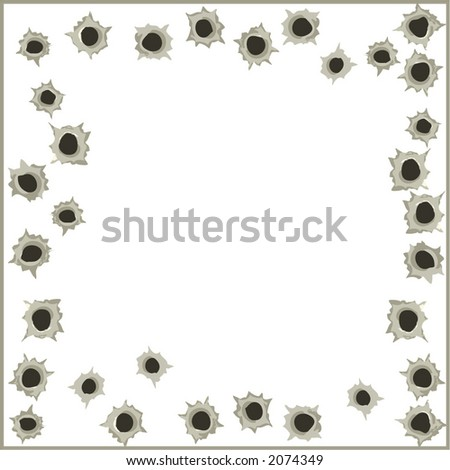 Bullet hole wall background with empty place for text- vector illustration - stock vector