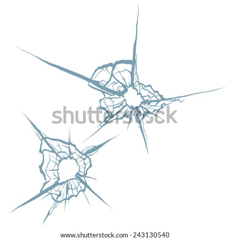 Bullet holes and crushed glass , hand drawn, vector illustration - stock vector