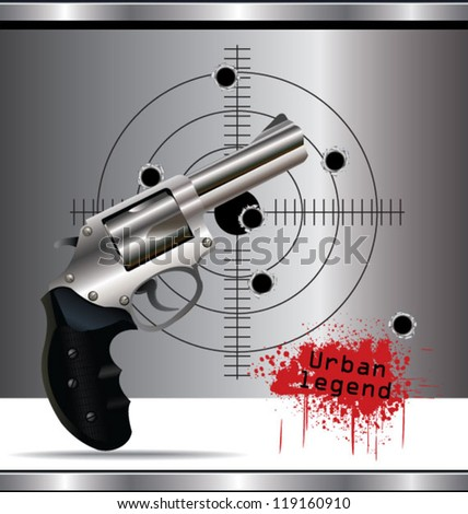 Bullet holes in the background and revolver background - stock vector