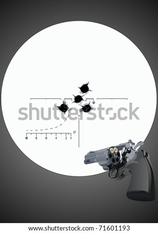 Bullet holes in the background of a revolver with unfolded drum and sniper scope - stock vector