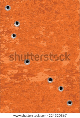 Bullet Holes on Rusty Metal Plate Surface - Illustration