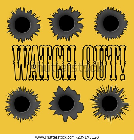 Bullet holes. Vector. Easy to place on different color or background. - stock vector