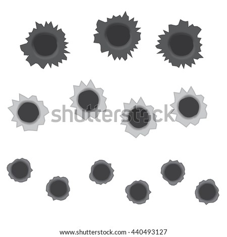 Bullet holes vector illustration isolated on a white background