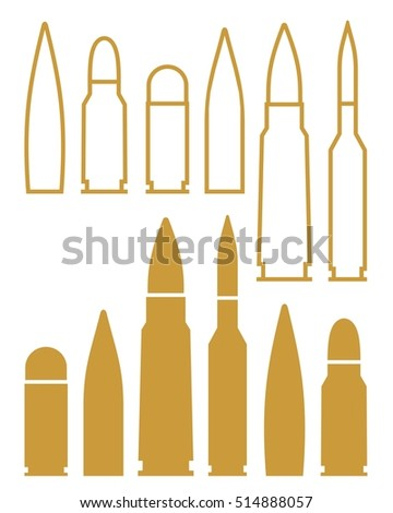 Bullet. Outline. Silhouette. Vector illustration. Set. Sign. Icon