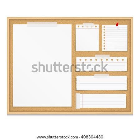 Bulletin board with paper attached by tape and push pin, corkboard with paper notes, vector eps10 illustration - stock vector