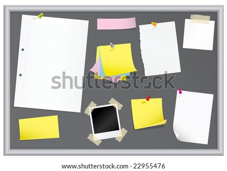 Bulletin board with stationery (grouped for easy editing) - stock vector