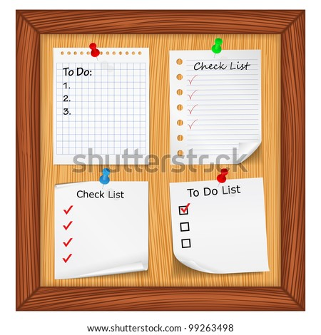 Bulletin board with ToDo List and Check List, vector eps10 illustration - stock vector