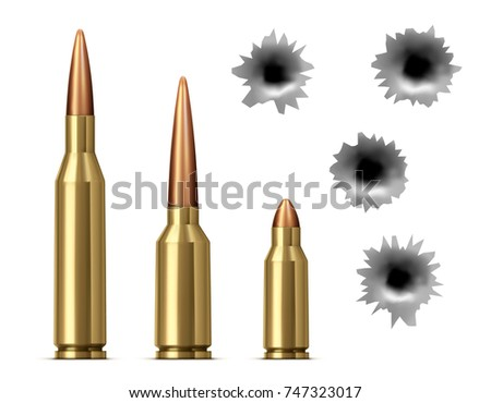 Bullets and bullet holes isolated on white background. Realistic vector illustration