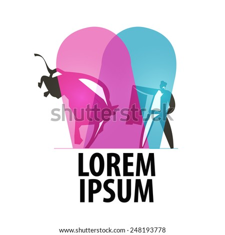 bullfighting logo design template. matador or  bullfight icon. - stock vector