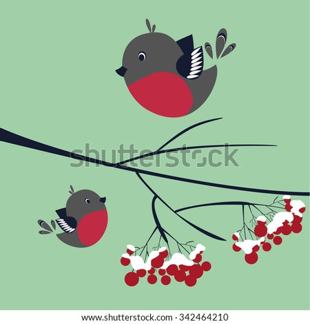 Bullfinch on a branch , snow background, winter landscape with birds and berries on a branch , vector illustration , winter mood , funny birds , red berries under the snow,winter day , Christmas mood