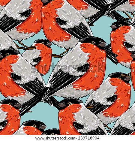 bullfinch, vector illustration bird, seamless - stock vector