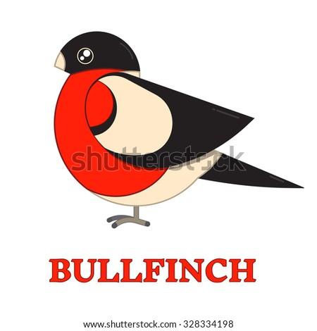 Bullfinch winter bird line art icon. Bird watching popular bird species collection. Flat design funny bullfinch. Simple shape and linear warbler bird style. Geometric animal pictogram. - stock vector