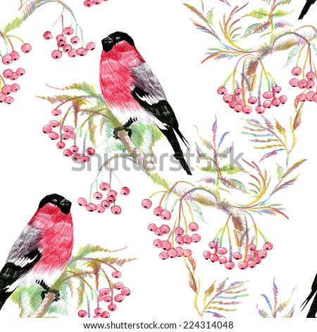 Bullfinches birds on a branch. Watercolor seamless pattern on white background vector illustration - stock vector