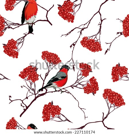 Bullfinches on mountain ash branches seamless vector pattern, EPS10 file - stock vector