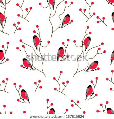 Bullfinches on the branches of mountain ash. Winter seamless pattern. Seamless pattern can be used for wallpaper, pattern fills, web page background, surface textures. - stock vector