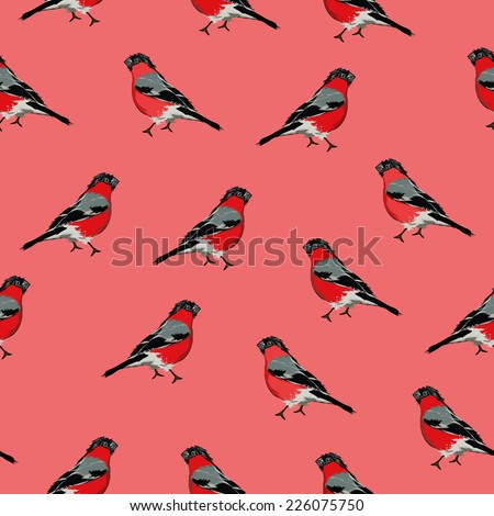 Bullfinches red seamless vector print, EPS10 file - stock vector