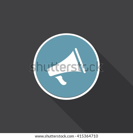 Bullhorn icon vector, megaphone solid illustration, pictogram isolated on black, flat sign with long shadow