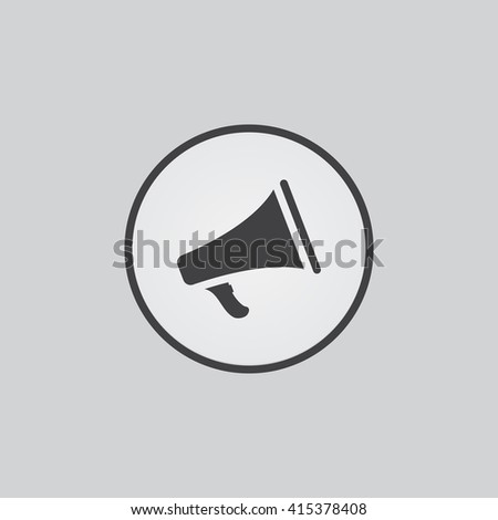 Bullhorn icon vector, megaphone solid illustration, pictogram isolated on gray