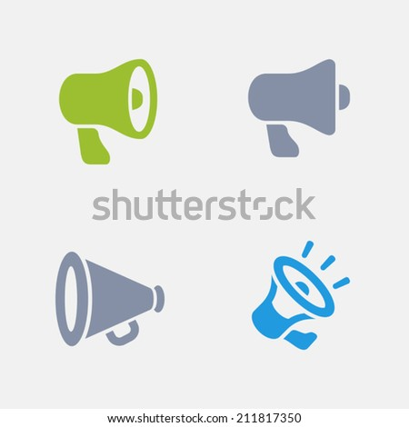Bullhorn Icons. Granite Series. Simple glyph style icons in 4 versions. The icons are designed at 32x32 pixels. - stock vector