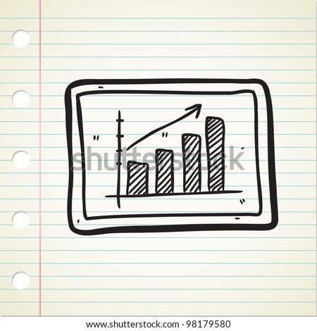 bullish graphic chart in doodle style - stock vector