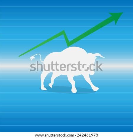Bullish market on blue background vector illustration - stock vector