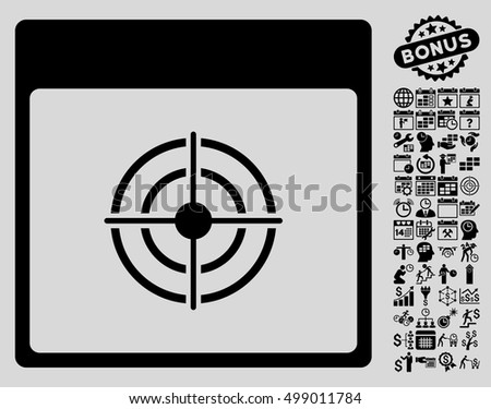 Bullseye Calendar Page icon with bonus calendar and time management design elements. Vector illustration style is flat iconic symbols, black, light gray background.