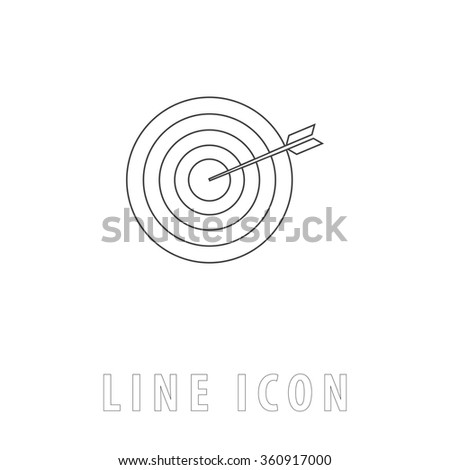 bullseye Outline simple vector icon on white background. Line pictogram with text  - stock vector